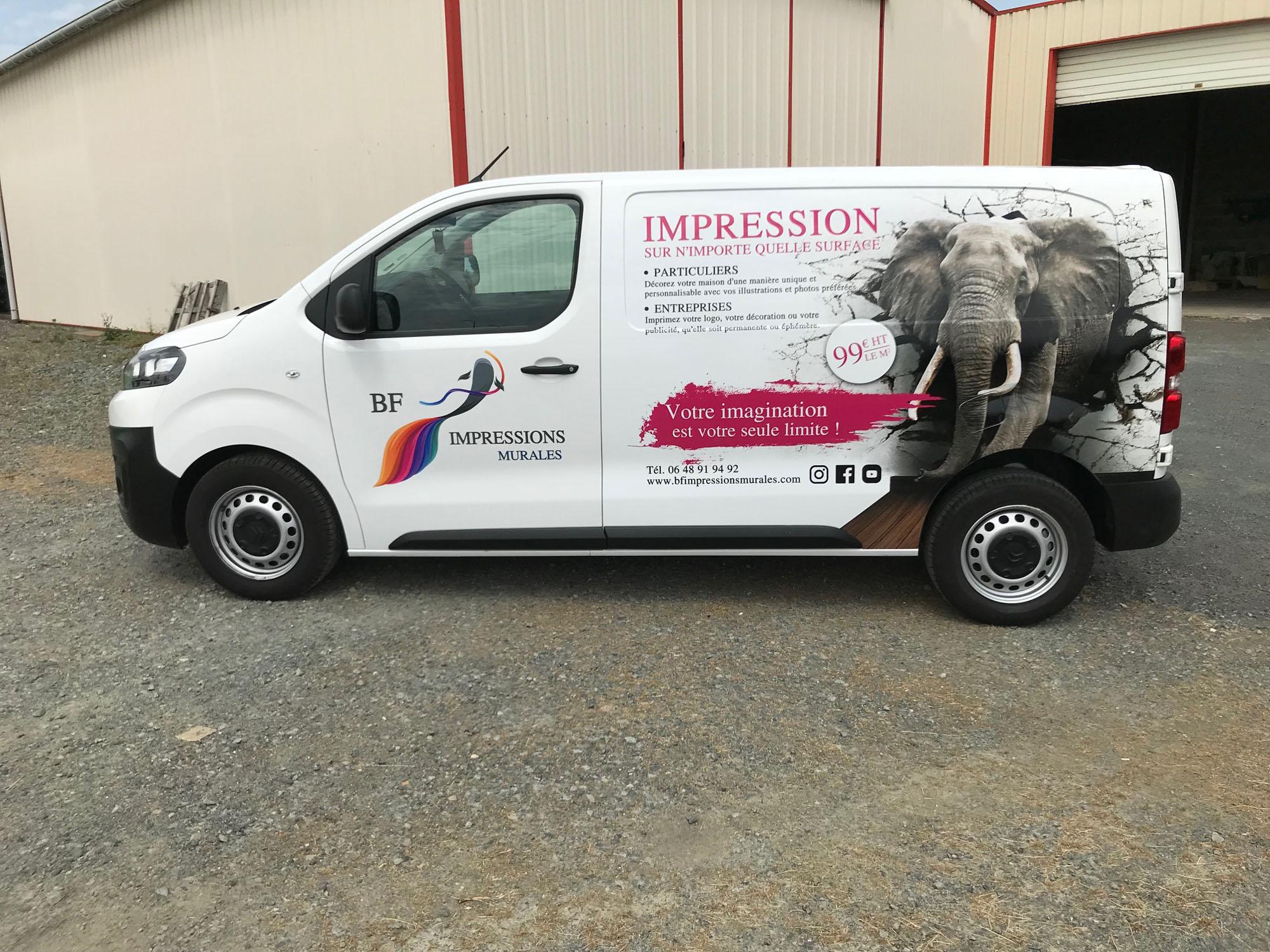 Marquage vehicule BF Impressions Murales - Guyonnet Publicite Fontenay le Comte